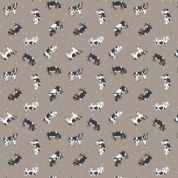 Lewis & Irene Small Things on The Farm - 5421 - Friesian Cows on Taupe - SM4.3 - Cotton Fabric